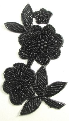 Flower with Black Beads x Zardozi Embroidery, Hand Embroidery Dress, Kurti Embroidery Design, Bead Embroidery Patterns, Couture Embroidery, Flower Embroidery Designs, Bead Embroidery Jewelry, Embroidery Fashion, Embroidery Patches