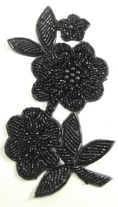 Flower with Black Beads x Zardozi Embroidery, Embroidery On Kurtis, Hand Embroidery Dress, Kurti Embroidery Design, Embroidery Neck Designs, Tambour Embroidery, Bead Embroidery Patterns, Couture Embroidery, Bead Embroidery Jewelry