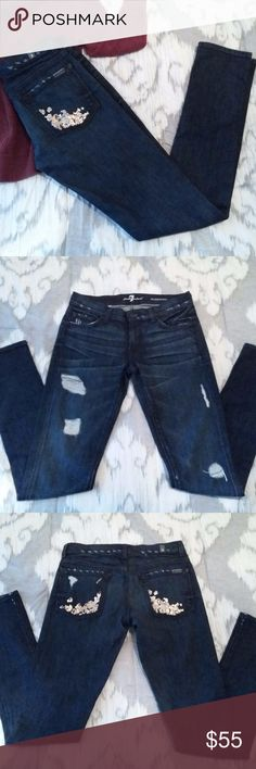 7 FOR ALL MANKIND Roxanne Distressed, Size 27 7 FOR ALL MANKIND denim jeans in a dark distressed wash. Great condition with no flaws! Very gently used and look brand new. No damage or wear to the heel. These are factory distressed/destroyed styled jeans with sequins on the back pockets. Rare pair of jeans!    Measurements: Laying Flat Waist: 15.5 inches Rise: 7.5 inches Inseam: 32 inches Hips: 18 inches 7 for all Mankind Jeans Skinny