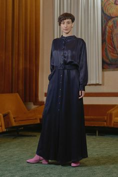 Kobanya Evening Dress (XS) by Tomcsanyi Jumpsuit With Sleeves, High End Fashion, Mandarin Collar, Fashion Labels, Black Satin, Color Combinations, Knitwear, Evening Dresses, Women Wear