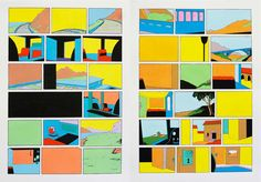 """Niklas Rüegg es un artista visual que vive en Bruselas y Zurich. Su trabajo Spuk ("""" Santo """") es (lo que queda de) un cómic, una secuencia generada por la escisión de todos los personajes, los globos contianing palabras y los detalles de varios Carl Barks páginas que representan originalmente aventuras de Donald Duck. El resultado es la secuencia de colores de fondos, paisajes e interiores repentinamente privados de su contenido narrativo. Las habitaciones vacías y sillas, esquinas y…"""
