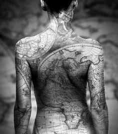 Earth map tattoo
