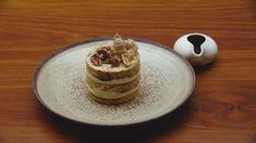 Honey Walnut Cake with Bitter Chocolate Sauce - Recipe by: Anushka Zargaryan - Masterchef Contestant Bitter Chocolate Sauce, Chocolate Sauce Recipes, Masterchef Recipes, Cocoa Cinnamon, Walnut Cake, Tray Bakes, Sweet Recipes, Delicious Desserts, Honey