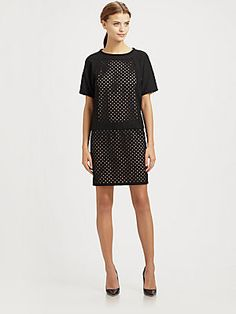 Tibi Laser-Cut Wool Dress