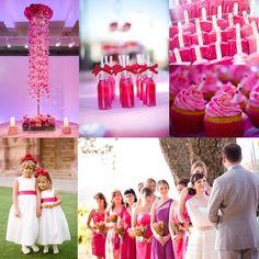 Hot Pink und Rot Hochzeit Brautkleider Hochzeitskinder Hochzeitstorte Cupcakes Cocktail 2014 Bright Color Outdoor Hochzeit im Sommer Inspiration