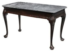 Irish Queen Anne Style Mahogany Marble-Top Pier Table, 19th century, variegated gray-to-ivory molded marble top, heavy frame set with shell and bellflower carved legs and pad feet, frieze set with single dovetailed drawer with oak linings, rich reddish-brown color, 30-1/2 x 50 x 25-1/2 in.