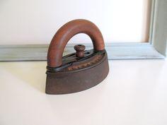 Antique Sad Iron Enterprise Mfg. Co. Primitive Smoothing Iron Wood Handle Farmhouse Decor by RollingHillsVintage on Etsy
