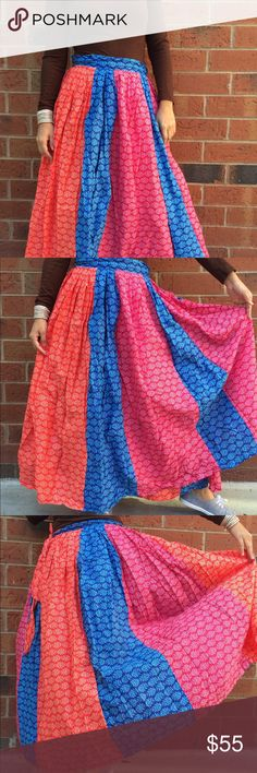 Hand made maxi wrap skirt gypsy boho hippy skirt Wrap Skirt, Gypsy skirt, Tribal Skirt,  belly dance skirt, Boho skirt Big wrap long maxi skirt is made out of cotton. It is a wrap skirt which can be adjusted to your size by wrapping around your waist. It is made out of about 5 yards of fabric.   Suited for Summer ,Spring, Winter and Fall. Looks great for music festival boho dancers, dress up parties, fall and summer yoga meditation festivals  Material: 100 % Cotton Size: One size (…