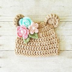 Crochet Baby Bear Hat Beanie Flowers Floral Spring Infant Newborn Baby Toddler Child Photography Photo Prop Baby Shower Gift Present