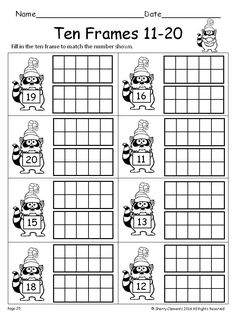 Ten Frames 11-20 Winter (Fill in the Ten Frames) - kindergarten - first grade - math centers - homework - morning work - minilessons - interventions - $