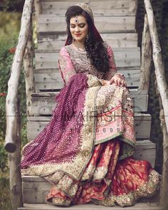 """The very Beautiful Anusha Ghaffar on her Wedding Day in a Nomi Ansari Bespoke Couture piece. #bride #nomiansari #nomiansaricouture #realbride #ethnic…"""