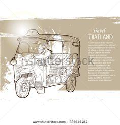 Tuk Tuk Thailand, Thailand Travel Elements Design, Thailand in vintage style poster, vector illustration, Hand Drawn Illustration. - stock vector