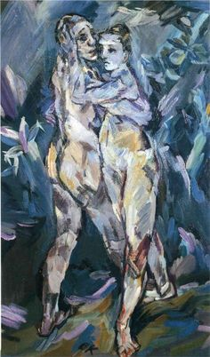 """Two Nudes (Lovers)"" (1913), by Oskar Kokoschka. Oil on canvas; Museum of Fine Arts, Boston. Self portrait Kokoschka and his lover, Alma Mahler (window of composer Gustav Mahler)."
