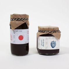 Cat Lady Preserves ~ Homemade jam Packaging by graphic designer Sumayya Alsenan - Well this is a bit slick. Jar Design, Bottle Design, Food Design, Honey Packaging, Bottle Packaging, Food Packaging Design, Brand Packaging, Jam Label, Acerola