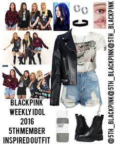 Credits to:(Go Visit) Kpop Fashion Outfits, Outfits 2016, Stage Outfits, Dance Outfits, Outfits For Teens, Cute Emo Outfits, Edgy Outfits, Girl Outfits, K Pop