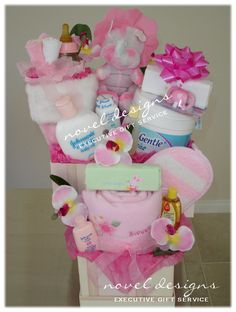 Baby Girl Gift Tower. #Baby #Girl #GiftTower