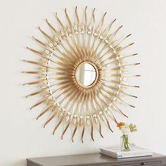 Ballard Designs Alder Sunburst Mirror ($179) ❤ liked on Polyvore featuring home, home decor, mirrors, distressed mirror, golden mirror, sun shaped mirror, sunburst mirror and antiqued mirror