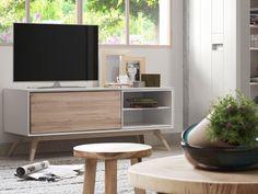 Mobile Tv con anta frontale e piedi in legno frassino massiccio. Struttura e ripiani in MDF laccato col. bianco