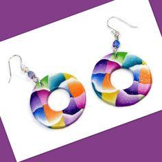 https://flic.kr/p/y3uQVA | polymer clay Colorblock Hoop Earrings
