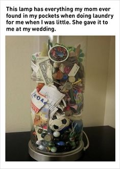 Mom saved items found in sons pockets and gave as a wedding gift. I might do this for a graduation gift. Too cute! For Elise, Crafts For Kids, Diy Crafts, Recycle Crafts, Family Crafts, Making Memories, Childhood Memories, Family Memories, Saved Items