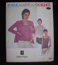 Vintage 80s VOGUE 2516 American Designer pattern ALBERT NIPON jacket camisole 8