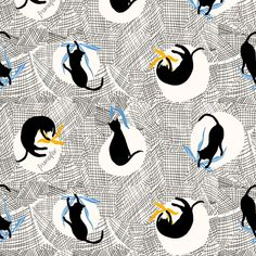 Dance with Cats! fabric by frumafar, available from Spoonflower