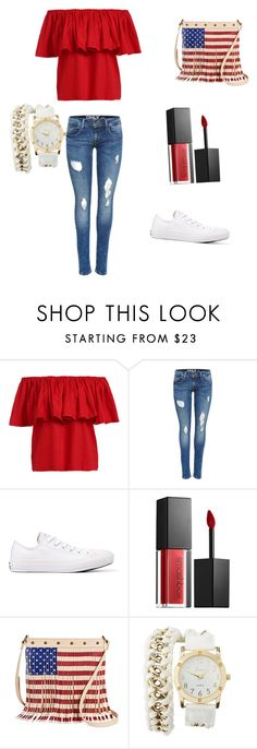 """""""4th of July outfit"""" by khoneygirl ❤ liked on Polyvore featuring Converse, Smashbox, TWIG & ARROW, Charlotte Russe, redwhiteandblue and july4th"""