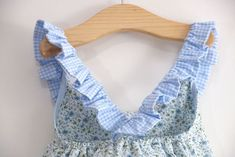 Aprender a coser: Vestido combinado cuadro y flores (Patrones gratis talla 1 a 7 años)