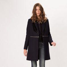 maje GALBE Zipped Woolen Coat at Maje US