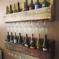 Palet reciclado porta copas y vinos