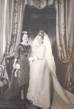 Diane, Duchess of Württemberg (née Princess Diane Françoise Maria da Gloria of Orléans) on her wedding day