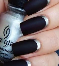 A manicure is a cosmetic elegance therapy for the finger nails and hands. A manicure could deal with just the hands, just the nails, or French Nails, Silver French Manicure, Black Silver Nails, Silver Nail Art, White Nails, Nail Black, Black Manicure, French Polish, French Manicures