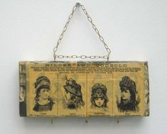 Upcycled wooden block which has been covered using pages from a 1963 book with images from adverts in the Victorian era. Each block has been varnished. 22cm x 9.5cm x 4.5cm   (8.75 x 3.75 x 1.75 inches) There are 3 hooks underneath The wood is a soft pine, the fixings can be easily removed should you wish to display this item differently.  One of a kind