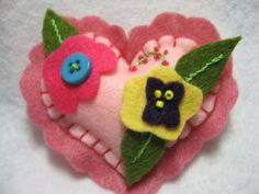 Valentine Heart Pin Brooch with Dainty Flowers by BlondiesSpot, $6.99