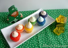 Rainbow cupcakes. Gold jello jigglers. Must make these next year when I have my own kitchen again.