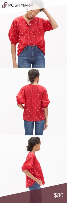 Madewell red peasant top Brand new, no flaws, with tags. PRODUCT DETAILS A red shirred peasant blouse in a delicate vintage-inspired floral print. With its easy fit and elbow-length sleeves, it's ideal for in-between weather.    True to size. Cotton lawn. Machine wash. Import. Item C9639. Madewell Tops Blouses