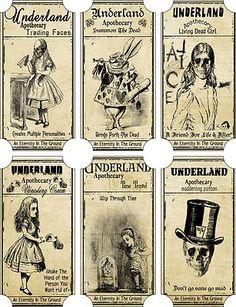 Alice in Wonderland Scary Underland Bottle Apothecary Labels | eBay