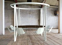 king arthur round swing table by duffy london