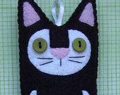 Folk Art Kitty Cat Plush Felt Ornament - Grey and Copper. $18.00, via Etsy.