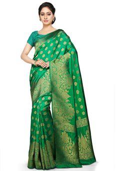 Woven Kanchipuram Saree in Green