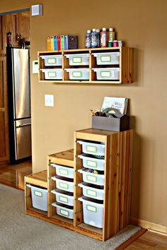 Simple and uncluttered. From IKEA and TROFAST, kids dept.  Need for craft and art supply organization