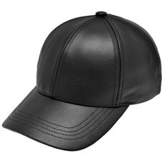 Black Leather Adjustable Baseball Cap Hat Made in USA (38.990 COP) ❤ liked  on 1ae88cadf134