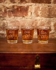 Trigonometry Symbols Shot Glasses (Set of 3)