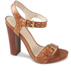 Crafted from rich tan leather, the Clara is the perfect touch of modern vintage to accentuate any outfit. With a contrasting stitching detail and brassy buckle, these sky high block heels stand tall, and have a padded platform so you won't notice Shop Now, High Heels, Platform, Sandals, Shopping, Shoes, Women, Fashion, Moda