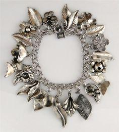 Vintage Sterling Flowers & Leaves Charm Bracelet 1940's-50's
