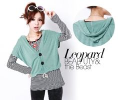 Korean 2-peice long-sleeved striped Top Green