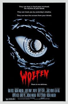 Wolfen 1981 / Albert Finney, Diane Venora, Gregory Hines and Edward James Olmos. It is an adaptation of Whitley Strieber's 1978 novel The Wolfen.  Also a superb read.  NYPD Captain Dewey Wilson (Finney) is assigned to solve a bizarre string of violent murders.  They'e not wolves, they're Wolfen and they kill to protect their hunting grounds.  Very scary movie.