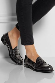 church's sally polished-leather penny loafers / net a porter Cute Shoes, Women's Shoes, Me Too Shoes, Shoe Boots, Dress Shoes, Flat Shoes, Ankle Boots, Loafer Shoes, Dance Shoes
