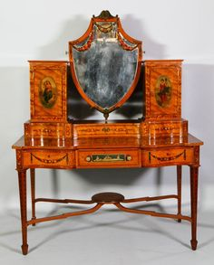 Edwardian ladies fancy dressing table with mirror