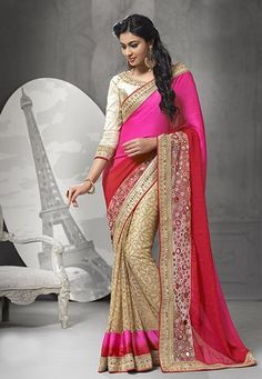Beige & Pink Net Embroidered Saree With Art Silk Blouse